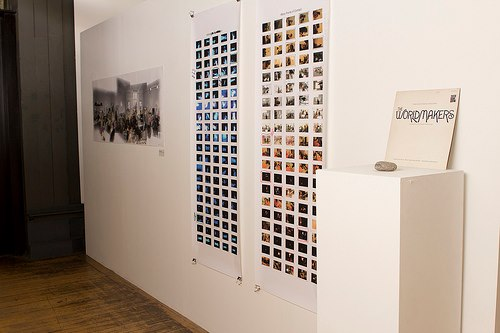 Catherine Scriven, my contact sheets, found vinyl and Spurn Point pebble.